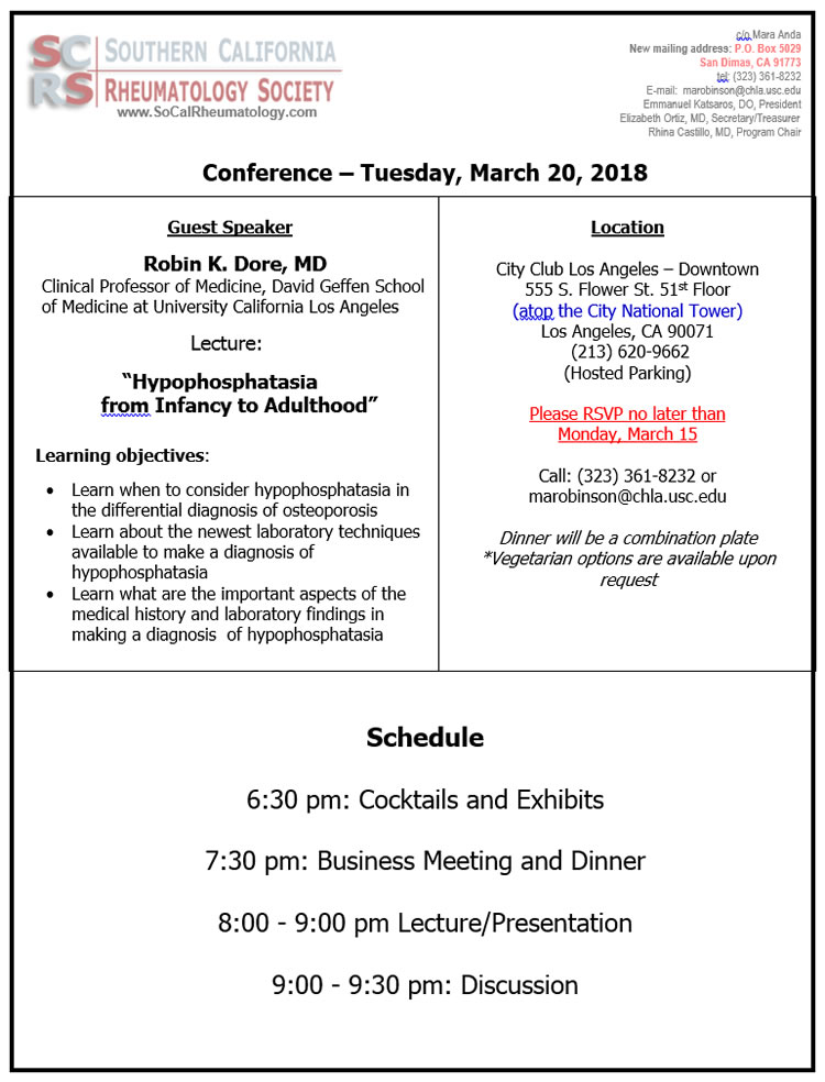 SCRS  CONF MARCH 20, 2018